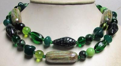 """Vintage 70's Long 35"""" Glass Bead Necklace Green Black Tan"""