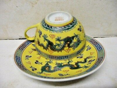 Vintage Dragon Five Claw Decorated Chinese Cup & Saucer  Marks To Base