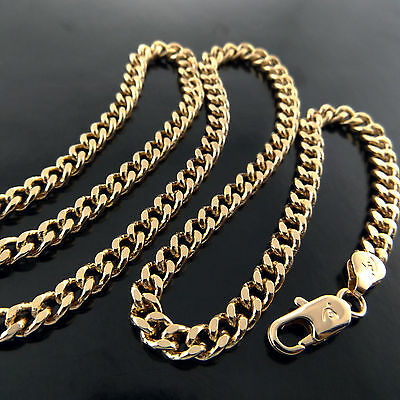 Fsa612 Genuine Real 18K Yellow G/f Gold Solid Unisex Curb Pendant Necklace Chain