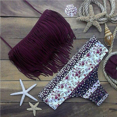 Women Bikini Set Push-up Bandage Fringe Tassel Two-piece Swimwear Swimsuit Beach