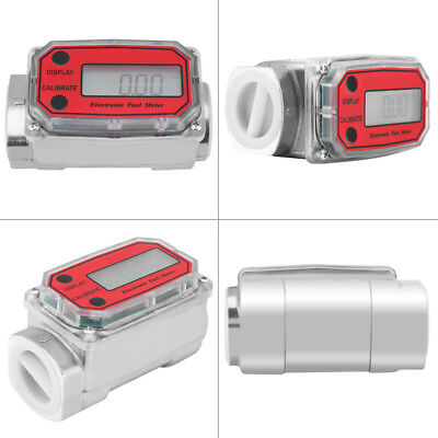 "1""NPT LED Digital Turbine Flow Meter 15-120L/Min Diesel Fuel Flowmeter Blue/Red"