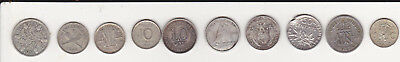 Lot of 10 Different Silver World Coins