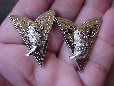 Vintage Collar Tips-Collar Points-South Western Design-Silver T Metal