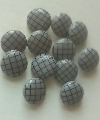 Antique Glass Buttons Gray Black