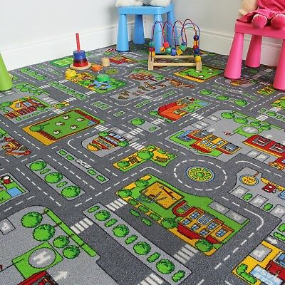 200x200 Square Street Kids Village Town Rug City Car Roads Fun Play Mats Rugs UK