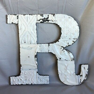 "Large Antique Tin Ceiling Wrapped 16"" Letter 'R' Patchwork Metal White 745-17"