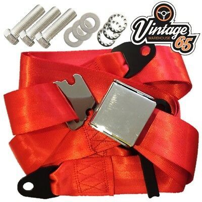 Classic Volkswagen Chrome Buckle 3 Point Adjustable Static Seat Belt Kit Red