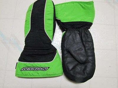 Adult L Arctic Cat Thinsulate 150 grams snowmobile mittens/gloves, green & black