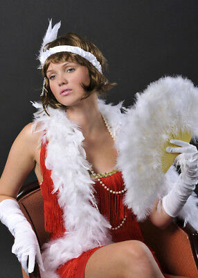 1920s Flapper Girl Deluxe White Feather Boa
