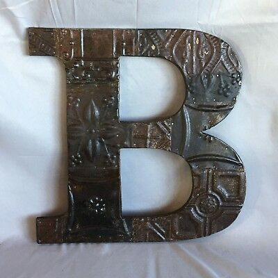 "Large 1890's Tin Ceiling Wrapped 16"" Letter 'B' Patchwork Metal Rust 747-17"