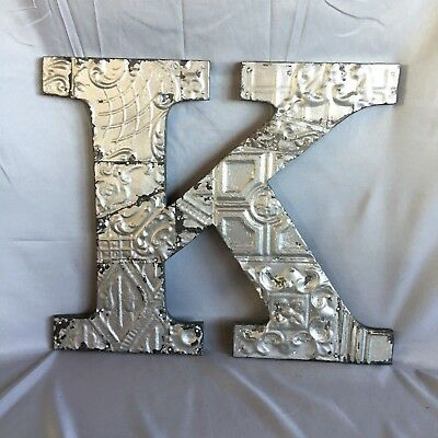 """Large Antique Tin Ceiling Wrapped 16"""" Letter 'K' Patchwork Metal Silver 749-17"""