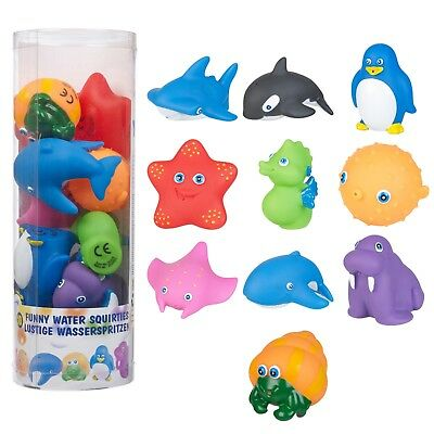 10pc Funny Animal Water Squirties Bath Toy Play Children Plastic Game Squeeze