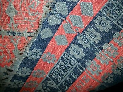 Antique 1868 Wool Coverlet - Dated Signed - Trees Birds Stars