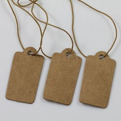 100Pcs High-end Price Label Tags Blank Kraft Paper With Elastic String 30*15MM