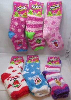 Kids Shopkins Fuzzy Slipper Gripper Socks 6 Pair Sock Size 6-8.5 Shoe Size 7-3