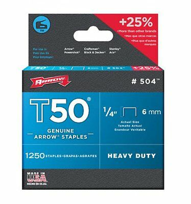 "Arrow STAPLES T50 50424 1/4"" 1,250 per box FITS RAPID ARROW SPOTNAILS STAPLERS"