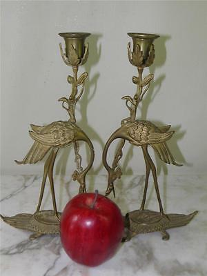 Antique Pair J W Bronze Figural Bird Crane Turtle Candlesticks Candle Holder