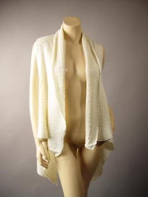 Ivory Cream Shawl Collar Vtg-y Boho Bohemian Crochet Knit Sweater 253 mv Vest