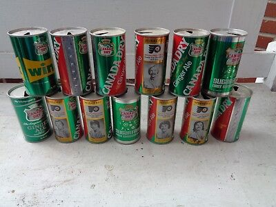 Vintage Lot Of 13 Canada Dry Soda Cans Pull Tab Philadelphia Pa Flyers Wink