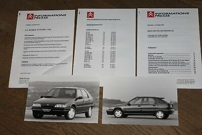 (181) Informations presse gamme Citroën 1993 + ZX