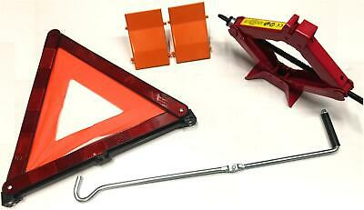 1 Ton Wind Crank Up Scissor Jack with 2 Wheel Chocks and Warning Triangle