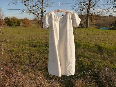 Antique French Fine Linen Chemise Hand Embroidered Monogram .l