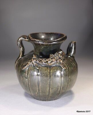 Antique Chinese Brown Glazed Water Pot Dragons