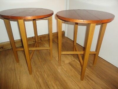 Vintage Mid Century Round Teak Bedside Tables Danish Style 60s 70s