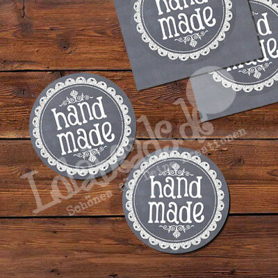 50 Aufkleber Sticker Label - HAND MADE - 30 mm - rund - p00st0003x2-eixx