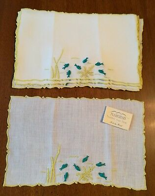 Vintage Marghab Madeira Under The Sea Embroidered Cocktail Napkins Set of 8
