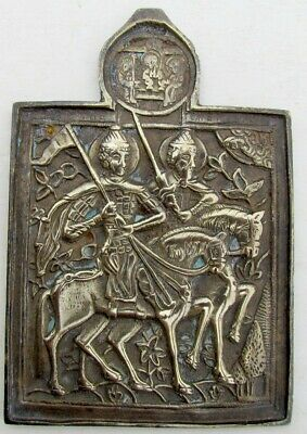 ANTIQUE 18th CENTURY RARE RUSSIAN BRONZE ICON of BORIS & GLEB