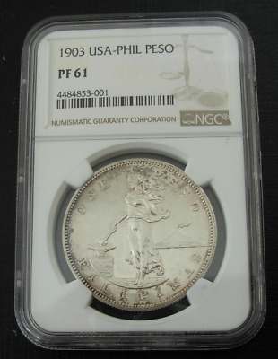 Philippines 1903 Silver Peso NGC PF61