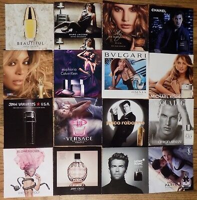 Lot of 18 Perfume scent square insert peel ads Beyonce Armani Chanel Versace