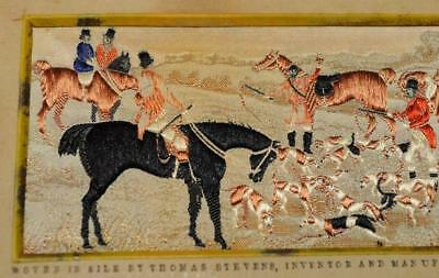 Stevengraph Pure Silk Woven Pictures The DEATH Thomas Stevens FOX HUNTING