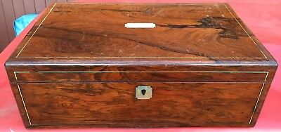 Antique Victorian Rosewood inlaid Writing Slope Stationery Box Restoration TLC