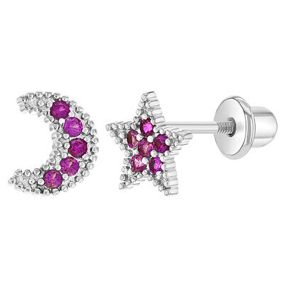 fe53057ee Rhodium Plated Screw Back Earrings Toddlers Girls Children's Pink CZ Moon  Star