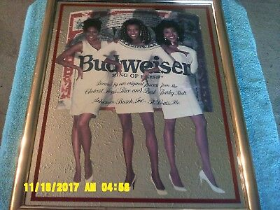 """Budweiser Lady's Mirror - 17.5"""" wide x 21"""" tall, MADE IN USA in 1992 Free Ship!"""