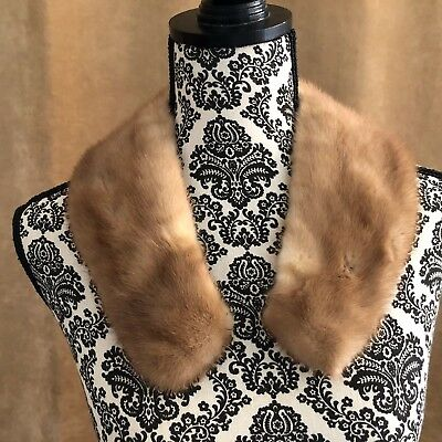 "Mink Vintage collar light brown fur 24"" long women custom wrap coat Stole"