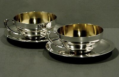 "Spanish Silver Cups & Saucers   ""TEA SET""      Munoz  c.1930       "" TWO SETS """