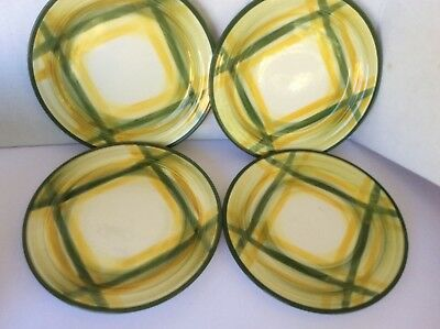 VTG Vernon Kilns USA Vernonware Gingham Handpainted set of 4 salad plates 7.5""