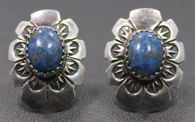 Sterling Silver Arthur Platero Navajo Artisan Oval Blue Stone Stamped Earrings