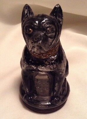 Vintage Glass Bulldog Candy Container