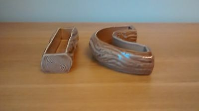 Two Wade Brown Tree Trunk Mantle Piece Vases