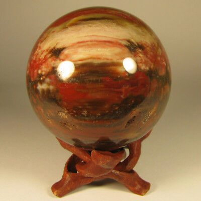 """2.5"""" PETRIFIED WOOD Sphere Ball w/ Stand - Madagascar - 64mm"""