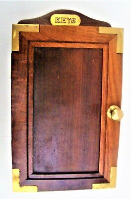 "10"" High x 6½"" x 2¾"" Key Cabinet, Polished Wood and Brass, 18 Keys"