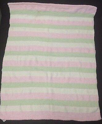 Carters Pink green white striped Chenille Baby Girl knit Baby Blanket