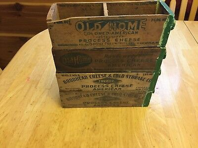 Lot of 4 Vintage Wooden Cheese Boxes- Old Home and  Brodhead brands