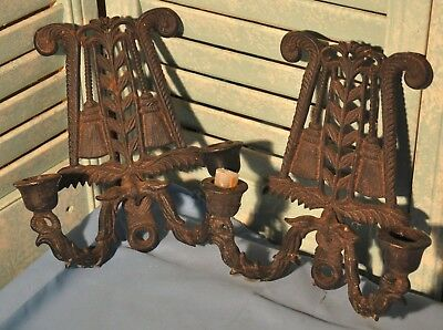 Pair Of Vintage Wall Sconces Candleholders By Wilton Cast Iron Kitchen