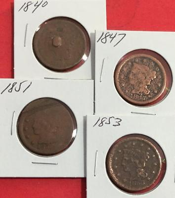 1840 1847 1851 & 1853 US LARGE Cents SEt of 4 Carded Coins!