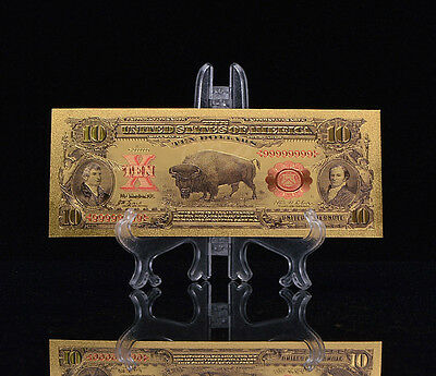 """2X MINT GEM CONDITION>1899""""GOLD""""BISON Banknote W/ COA~ U.S SELLER~FAST SHIPPING!"""